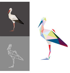 Stork low poly vector