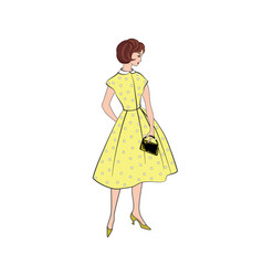 Stylish fashion dressed girl 1950s 1960s style vector