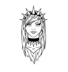 Stylish subcultural young girl with spiked bezel vector image