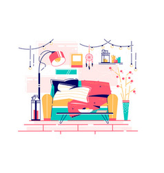 sweet home place to read comfortable furniture vector image