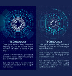 Technology poster with bright interface shapes vector