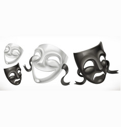 Theatrical masks comedy and tragedy 3d icon vector