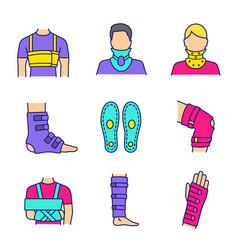 trauma treatment color icons set vector image