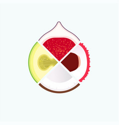 tropical fruit organic food and juice round logo vector image