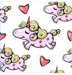 Unicorn seamless pattern cute unicorn smiling with vector