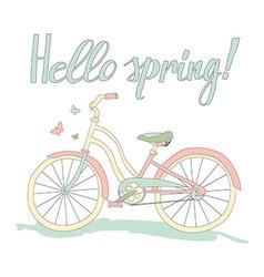 Vintage postcard Hello spring vector