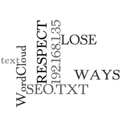 Ways to lose respect as an seo text word cloud vector