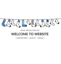 Welcome to website for socks shop vector