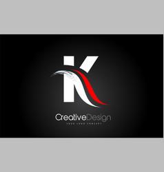 White and red k letter design brush paint stroke vector