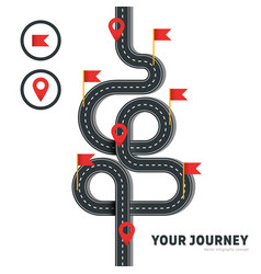 Winding road with pins and flags isolated vector