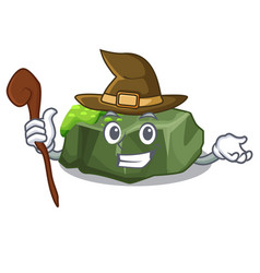 Witch cartoon large stone covered with green moss vector