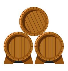 Wooden barrels with wine winemaking industry vector
