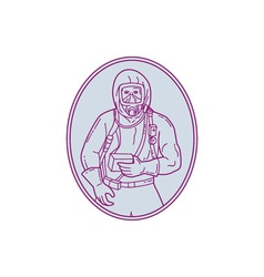 Worker Haz Chem Suit Oval Mono Line vector