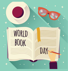 world book day open book with a hand writing vector image
