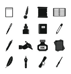 writing icons set items simple style vector image