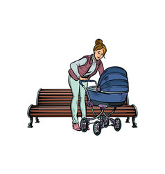 Young mother with a baby carriage park bench vector