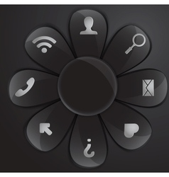 black glass daisy for buttons and interface vector image vector image