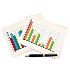Business concept with finance graphs and black pen vector image vector image