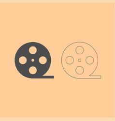 film strip dark grey set icon vector image