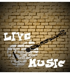 live music guitar on a brick background vector image