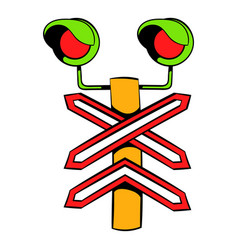 rail crossing signal icon icon cartoon vector image vector image