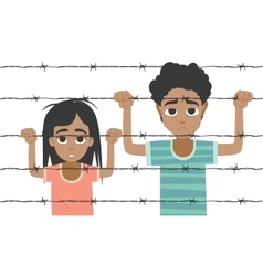 Refugee boy and girl behind barbed wire vector image vector image