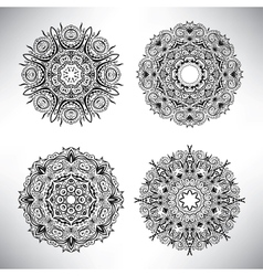 Set of floral elements Lace flowers vector image vector image