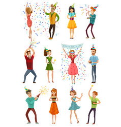 birthday party celebration funny people set vector image