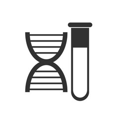 Black icon on white background dna with test tube vector