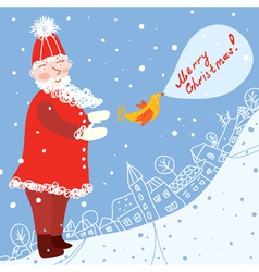 Christmas card with santa and town vector image vector image