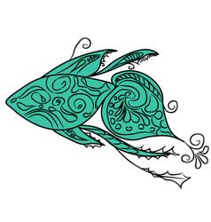 elegant fish logo eps10 vector image