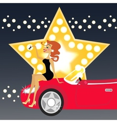 Girl and car vector