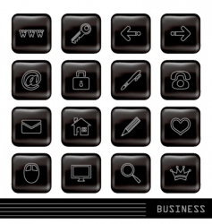 glossy black icons set vector image