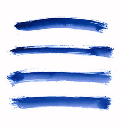 set of blue indigo watercolor stripes vector image