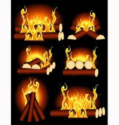 Bonfire collection vector image vector image