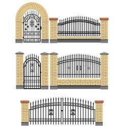 Gate and fences with brick columns and lattice vector image