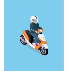 Isometric 3D Motorbiker with Motorcycle vector image vector image