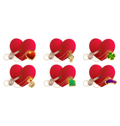 key love is to open heart shaped lock valentines vector image