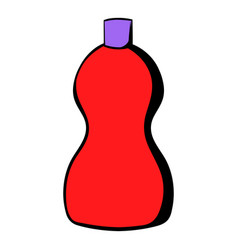 red plastic bottle of detergent icon icon cartoon vector image