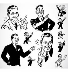 retro men pointing vector image vector image