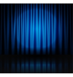 Spotlight on blue stage curtain vector image