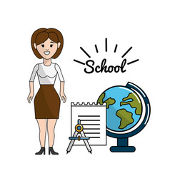 teacher with papper compass and earth planet desk vector image vector image