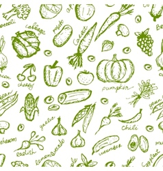 Vegetable seamless pattern for your design vector image vector image