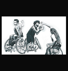 athletes with physical disabilities - basketball vector image