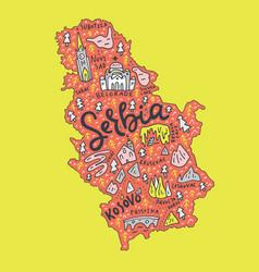 cartoon serbia map vector image vector image