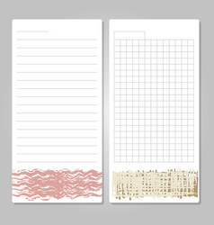 notebook page templates with paper for notes vector image vector image