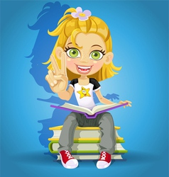 schoolgirl read on a pile of books vector image