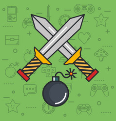 Video game crossed sword bomb weapon button object vector
