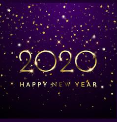 2020 happy new year glitter gold confetti vector