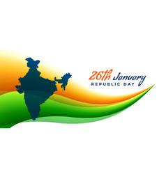 26th january republic day banner with map of india vector